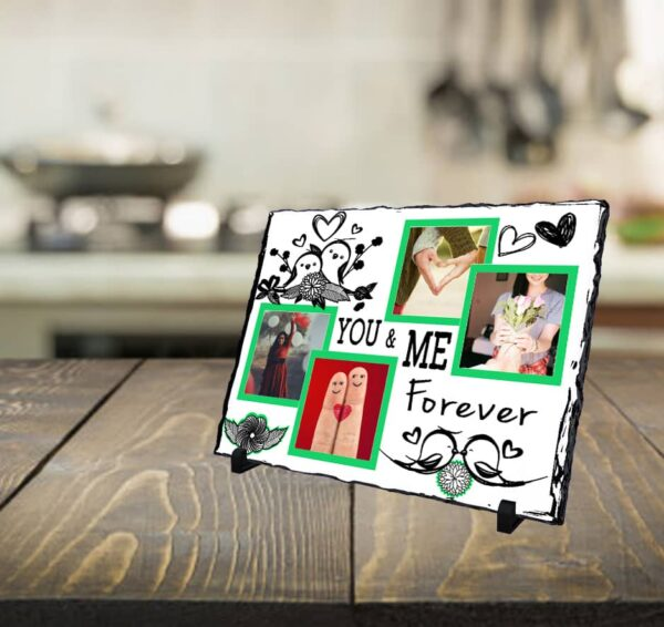 s13 Personalized photo printed Stone plaque  with 4 Photos - You and me forever personalized stone plaques