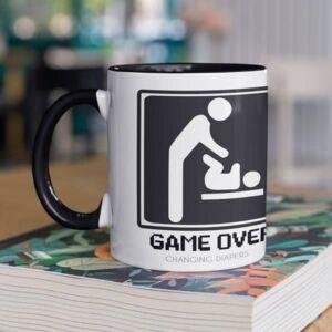 Watch out first time dad black coffee mug with print,mug with print,photo mug