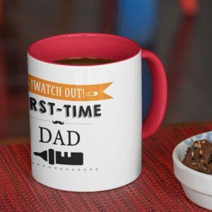 Watch out first time dad red coffee mug with print,mug with print,photo mug