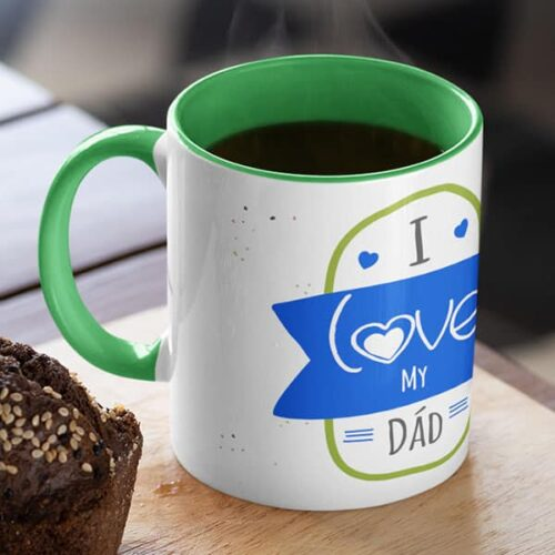 parent 17 5 I love my dad - Green mug Coffee mug with Print