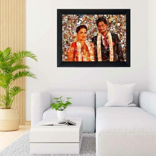 Photo-mosaic-frame-for-wedding
