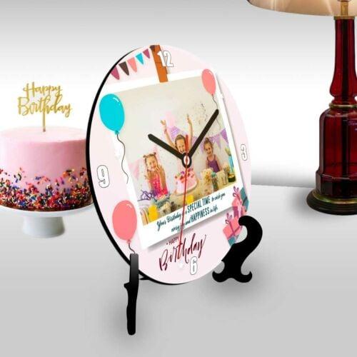 Happy birthday round clock with a polaroid themed photo-1