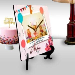 Happy birthday square clock with a polaroid themed photo-1