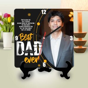 Best dad ever personalized table clock square