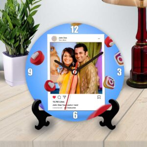 instagram themed personalized table clock round