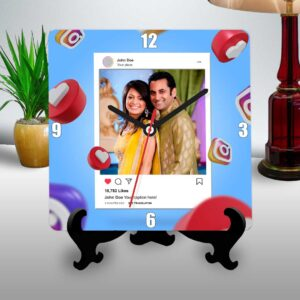 Instagram themed personalized table clock square
